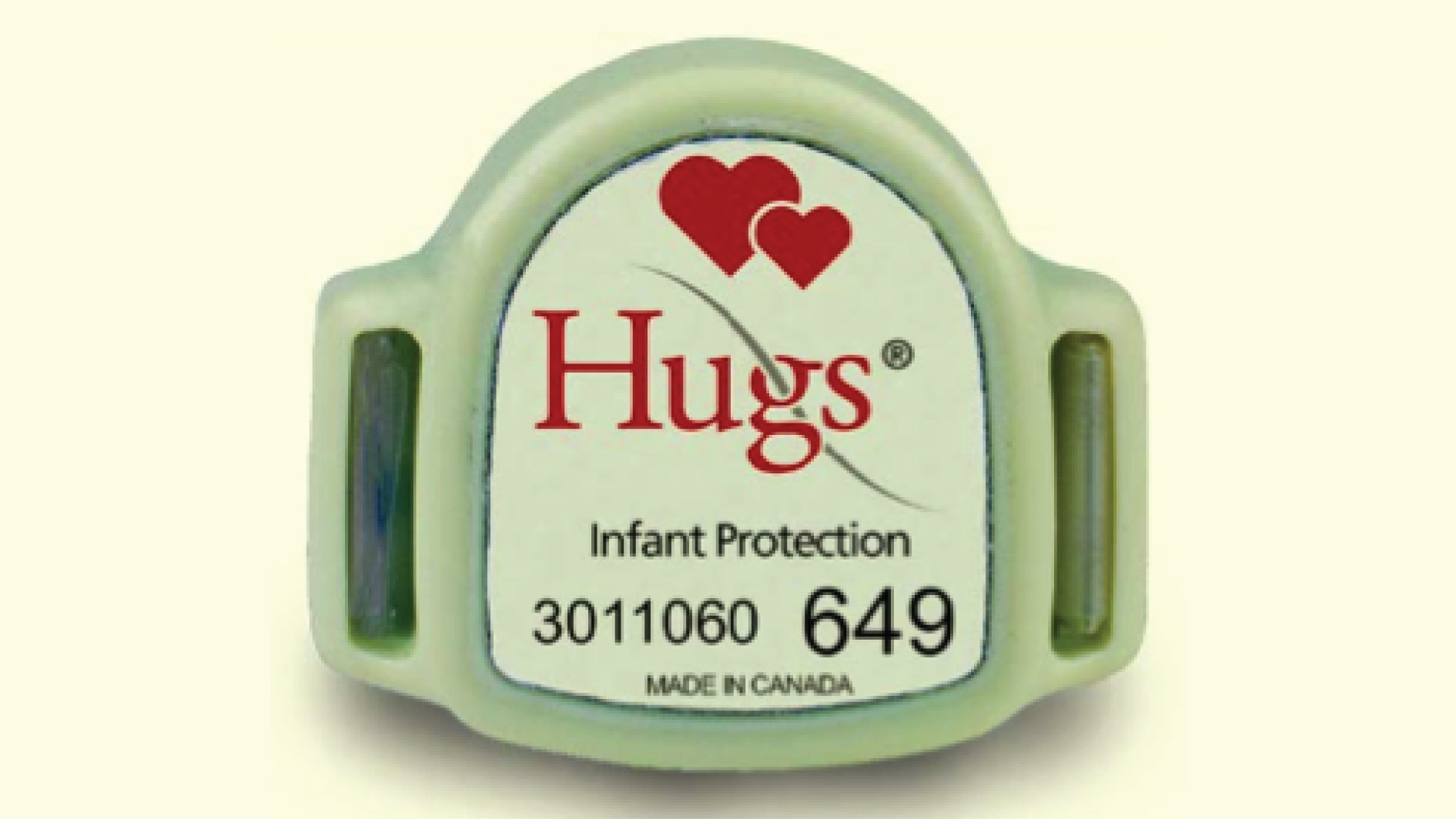 The Hugs tag features an RFID sensor that alerts hospital authorities if the wearer approaches an exit.