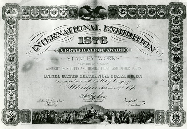 The certificate received by The Stanley Works