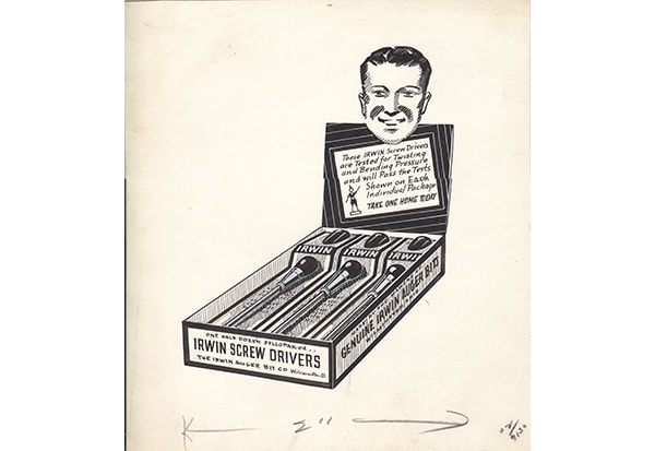 An advertising proof of an Irwin auger display, 1930s