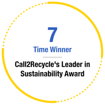 7 Time Winner of Call2Recycle's Leader in Sustainability Award