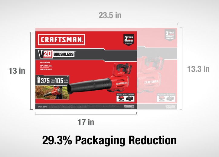 29.3% packaging reduction on craftsman hedge and string trimmers